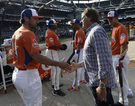 Former St Louis Cardinals Manager Tony Larussa (r) Shakes Hands with His Former Player and Current St Louis Cardinals Player Matt Carpenter (l) During Batting Practice Before the Major League Baseball All-star Home Run Derby at Citi Field in Flushing New York Usa 15 July 2013 the Baseball All-star Week Culminates with the Annual Mid-season Match-up of the Best of the American and National Leagues Playing For Home Field Advantage in October's World Series United States Flushing