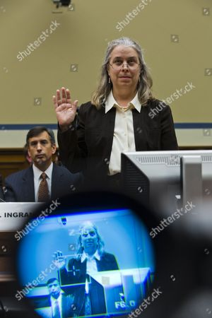 Sarah Hall Ingram Director of the Irs Affordable Care Act Office is Seen in a Tv Camera's Viewfinder As She Testifies Before a House Oversight and Government Reform Committee Hearing on 'Examining the Irs's Role in Implementing and Enforcing Obamacare' in the Rayburn House Office Building in Washington Dc Usa 09 October 2013 United States Washington