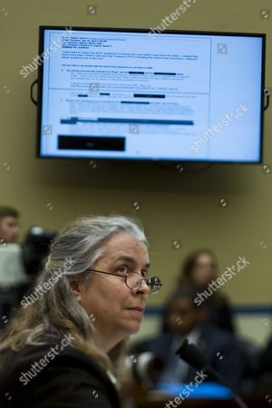 Sarah Hall Ingram Director of the Irs Affordable Care Act Office is Seen Below a Picture of a Partially-redacted Email That She Sent As She Testifies Before a House Oversight and Government Reform Committee Hearing on 'Examining the Irs's Role in Implementing and Enforcing Obamacare' in the Rayburn House Office Building in Washington Dc Usa 09 October 2013 United States Washington