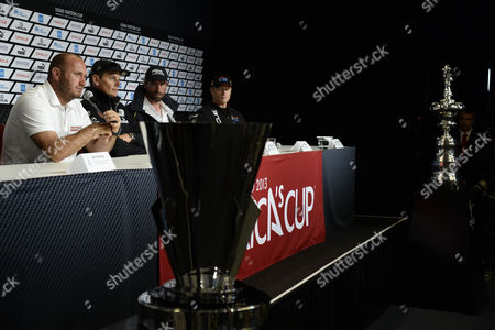Luna Rossa of Team Italy Skipper Max Sirena (l) Responds to Media Questions As Emirates Team New Zealand Skipper Dean Barker (l-to-r) Artemis Racing For Team Sweden Skipper Iain Percy and Oracle Team Usa Skipper James Spithill Look on at the America's Cup Pavilion Media Center in San Francisco California Usa 05 July 2013 Team Time-trials Were Cancelled Due to Heavy Winds the Start of the Louis Vuitton Cup is Schedule to Being 07 July United States San Francisco