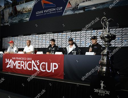 Oracle Team Usa Skipper James Spithill of Australia (r-to-l) Responds to Media Question As Artemis Racing For Team Sweden Skipper Iain Percy of Australia Emirates Team New Zealand Skipper Dean Barker of New Zealand Luna Rossa of Team Italy Skipper Max Sierna and Iain Murray Regatta Director of the America's Cup Look on at the America's Cup Pavilion Media Center in San Francisco California Usa 05 July 2013 Team Time-trials Were Cancelled Due to Heavy Winds the Start of the Louis Vuitton Cup is Schedule to Being 07 July United States San Francisco