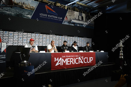 Iain Murray Regatta Director of the America's Cup (l-to-r) Responds to Media Questions As Luna Rossa of Team Italy Skipper Max Sirena Emirates Team New Zealand Skipper Dean Barker Artemis Racing For Team Sweden Skipper Iain Percy and Oracle Team Usa Skipper James Spithill Look on at the America's Cup Pavilion Media Center in San Francisco California Usa 05 July 2013 Team Time-trials Were Cancelled Due to Heavy Winds the Start of the Louis Vuitton Cup is Schedule to Being 07 July United States San Francisco