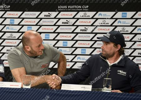 Luna Rossa Team Italy Skipper Massimiliano 'Max' Sirena (l) Shakes Hands with Artemis Racing Team Sweden Skipper Iain Percy of Great Britain (r) After a Press Conference in the Louis Vuitton Cup Semi-final Race Four in San Francisco California Usa 10 August 2013 Luna Rossa Won Race Four to Eliminate Artemis Racing and Advance to the Finals Against Emirates Team New Zealand the Louis Vuitton Cup is the Challenger Series For the America's Cup the Winner of the Louis Vuitton Cup Finals Will Face Oracle Team Usa in the America's Cup Finals in September United States San Francisco