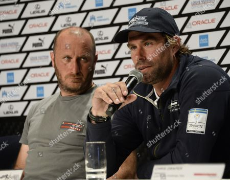 Artemis Racing Team Sweden Skipper Iain Percy of Great Britain (r) Responds to Question During a Press Conference As Luna Rossa Team Italy Skipper Massimiliano 'Max' Sirena (l) Looks on After the Louis Vuitton Cup Semi-final Race Four in San Francisco California Usa 10 August 2013 Luna Rossa Won Race Four to Eliminate Artemis Racing and Advance to the Finals Against Emirates Team New Zealand the Louis Vuitton Cup is the Challenger Series For the America's Cup the Winner of the Louis Vuitton Cup Finals Will Face Oracle Team Usa in the America's Cup Finals in September United States San Francisco