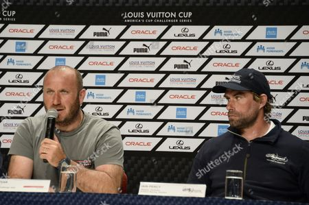 Luna Rossa Team Italy Skipper Massimiliano 'Max' Sirena (l) Responds to Questions During a Press Conference As Artemis Racing Team Sweden Skipper Iain Percy of Great Britain (r) Looks on After the Louis Vuitton Cup Semi-final Race Four in San Francisco California Usa 10 August 2013 Luna Rossa Won Race Four to Eliminate Artemis Racing and Advance to the Finals Against Emirates Team New Zealand the Louis Vuitton Cup is the Challenger Series For the America's Cup the Winner of the Louis Vuitton Cup Finals Will Face Oracle Team Usa in the America's Cup Finals in September United States San Francisco