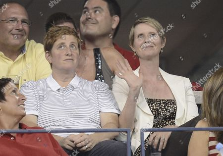 Us Actress Cynthia Nixon (r) Sits with Wife Christine Marinoni (l) on the Fifth Day of the 2013 Us Open Tennis Championship at the Usta National Tennis Center in Flushing Meadows New York Usa 30 August 2013 the Us Open Runs Through 09 September a 15-day Schedule For the First Time United States Flushing Meadows