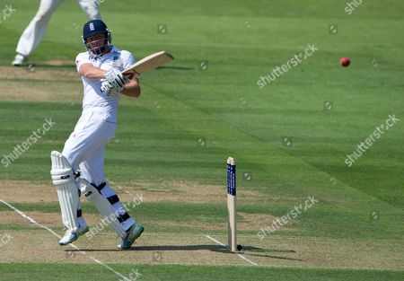 England's Jonny Bairstow Hits a Ball From Australia's Ryan Harris During Second Test of the 2013 Ashes Series Between England and Australia at the Lord's Cricket Ground in London Britain 18 July 2013 United Kingdom London
