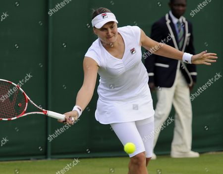 Russia's Nadia Petrova Returns to Czech Karolina Pliskova During Their First Round Match For the Wimbledon Championships at the All England Lawn Tennis Club in London Britain 25 June 2013 United Kingdom Wimbledon