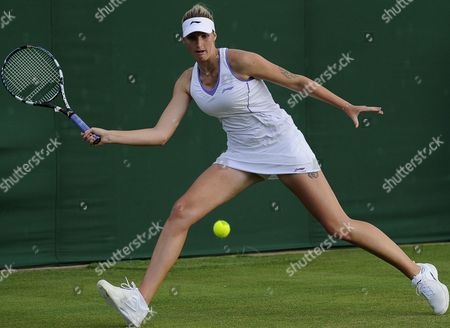 Czech Karolina Pliskova Returns to Russia's Nadia Petrova During Their First Round Match For the Wimbledon Championships at the All England Lawn Tennis Club in London Britain 25 June 2013 United Kingdom Wimbledon