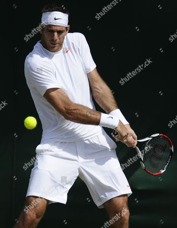 Juan Martin Del Potro of Argentina Returns to Slovenia's Grega Zemlja During Their Third Round Match For the Wimbledon Championships at the All England Lawn Tennis Club in London Britain 29 June 2013 United Kingdom Wimbledon