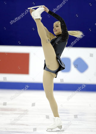 Stock Picture of Kiira Korpi of Finland Performs During the Ladies Short Program of the 2015 Isu World Figure Skating Championships at Shanghai Oriental Sports Center in Shanghai China 26 March 2015 China Shanghai
