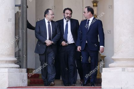 French President Francois Hollande (r) Walks out the Elysee Palace with Jewish Central Consistory President Joel Mergui (c) and Ariel Goldmann (l) President of the French Jewish Foundation 'Fonds Social Juif Unifie' (fsju) After a Meeting with French Representatives of Jewish Authorities in Paris France 11 January 2015 Three Days of Terror That Ended on 10 January Saw 17 People Killed in Attacks That Began with Gunmen Invading French Satirical Magazine Charlie Hebdo and Continued with the Shooting of a Policewoman and the Siege of a Jewish Supermarket France Paris