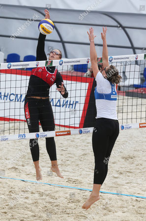 Victoria Orsi Toth of Italy (r) and Liliana Fernandez Steiner of Spain (l) in Action During the Third Place Match at the Moscow Grand Slam Beach Volleyball Tournament in Moscow Russia 25 August 2013 Russian Federation Moscow