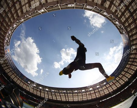Picture Taken with a Fisheye Lense of Teddy Tamgho of France Competing in the Men's Triple Jump Final at the 14th Iaaf World Championships at Luzhniki Stadium in Moscow Russia 18 August 2013 Russian Federation Moscow