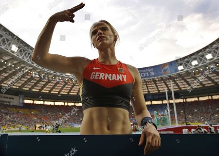 Silke Spiegelburg of Germany Speaks to Her Coach During the Women's Pole Vault Final at the 14th Iaaf World Championships at Luzhniki Stadium in Moscow Russia 13 August 2013 Russian Federation Moscow