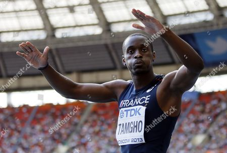 Teddy Tamgho of France Reacts After an Attempt in the Men's Triple Jump Final at the 14th Iaaf World Championships at Luzhniki Stadium in Moscow Russia 18 August 2013 Russian Federation Moscow