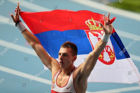 Serbia's Emir Bekric Celebrates After Taking the Third Place in the Men's 400m Hurdles Final at the 14th Iaaf World Championships at Luzhniki Stadium in Moscow Russia 15 August 2013 Russian Federation Moscow