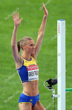 Sweden's Emma Green Tregaro Reacts During the Women's High Jump Final at the 14th Iaaf World Championships at Luzhniki Stadium in Moscow Russia 17 August 2013 Russian Federation Moscow