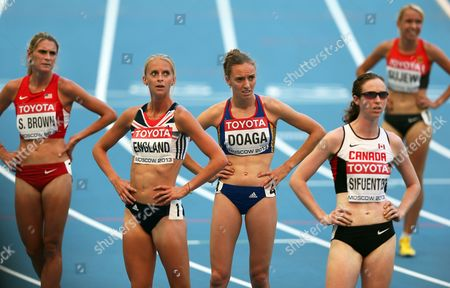 Britain's Hannah England (2nd L) Reacts During the Women's 1 500m Heats at the 14th Iaaf World Championships at Luzhniki Stadium in Moscow Russia 11 August 2013 Russian Federation Moscow