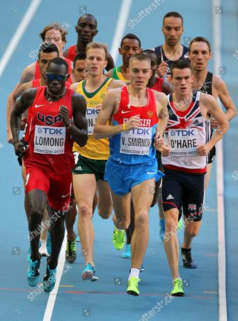 Lopez Lomong (l) of the Usa Russia's Valentin Smirnov (c) and Britain's Chris O'hare (r) Compete in the Men's 1 500m Semi Final at the 14th Iaaf World Championships at Luzhniki Stadium in Moscow Russia 16 August 2013 Russian Federation Moscow