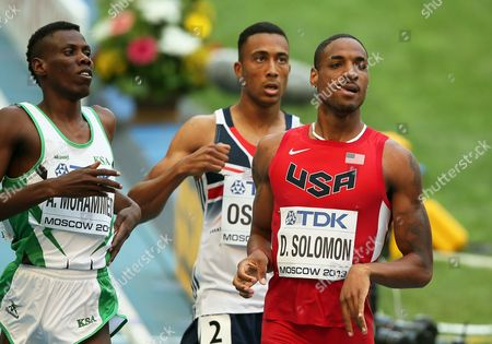 Saudi Arabia's Abdulaziz Ladan Mohammed (l) Britain's Andrew Osagie (c) and Duane Solomon (r) of the Usa React After Competing in the Men's 800m Heats at the 14th Iaaf World Championships in Moscow Russia 10 August 2013 Russian Federation Moscow