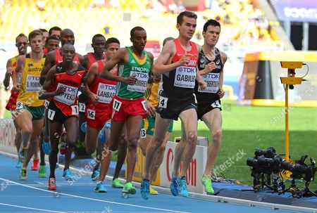 Germany's Arne Gabius (2nd R) Leads the Pack During the Men's 5000m Heats at the 14th Iaaf World Championships at Luzhniki Stadium in Moscow Russia 13 August 2013 Russian Federation Moscow