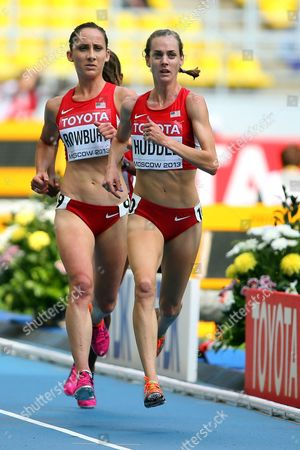 Shannon Rowbury (l) and Molly Huddle (r) of the Usa Compete During the Women's 5000m Heats at the 14th Iaaf World Championships at Luzhniki Stadium in Moscow Russia 14 August 2013 Russian Federation Moscow