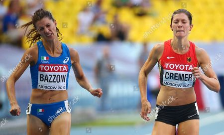 Italy's Chiara Bazzoni (l) and Germany's Esther Cremer (r) Compete in the Women's 400m Heats at the 14th Iaaf World Championships at Luzhniki Stadium in Moscow Russia 10 August 2013 Russian Federation Moscow