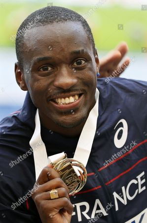 Gold Medalist Teddy Tamgho of France Poses on the Podium During the Medal Ceremony For the Men's Triple Jump at the 14th Iaaf World Championships at Luzhniki Stadium in Moscow Russia 18 August 2013 Russian Federation Moscow