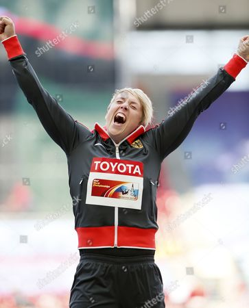 Gold Medalist Christina Obergfoell of Germany During the Medal Ceremony For the Women's Javelin Throw at the 14th Iaaf World Championships at Luzhniki Stadium in Moscow Russia 18 August 2013 Russian Federation Moscow