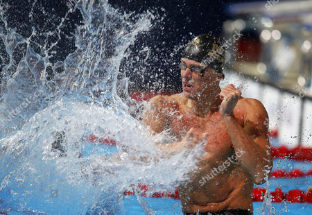 Cesar Cielo Filho of Brazil Celebrates After Winning the Men's 50m Freestyle Final During the 15th Fina Swimming World Championships at Palau Sant Jordi Arena in Barcelona Spain 03 August 2013 Spain Barcelona