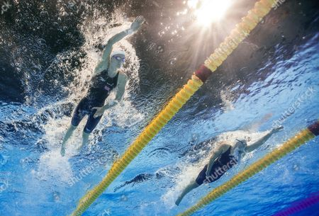 Stock Photo of Jazmin Carlin (l) of Great Britain and Chloe Sutton (r) of the United States of America Compete in the Women's Women's 1500 Meters Freestyle Heats at the 15th Fina Swimming World Championships at Palau Sant Jordi Arena in Barcelona Spain 29 July 2013 Spain Barcelona