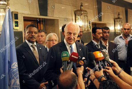 Staffan De Mistura (c) the New Un Envoy to Syria Speaks During a Press Conference in Damascus Syria 11 September 2014 Staffan De Mistura Arrived in Damascus As the New Un Envoy to Syria Replacing Algerian Diplomat Lakhdar Brahimi Syrian Arab Republic Damascus