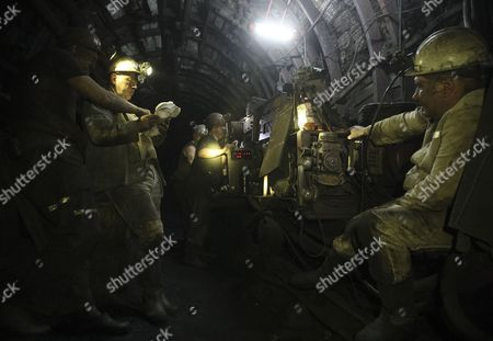 A Picture Made Available on 01 May 2015 Shows Miners Working at the Coal Mine 'Shcheglovskaya-glubokaya' on a Territory Controlled by Pro-russian Rebels in Eastern Town Makeyevka Near Donetsk Ukraine 30 April 2015 the Coal Mine 'Shcheglovskaya-glubokaya' was Under Fire About Four Times Since the Eastern Ukraine Conflict Began Nato's Military Commander Warned the Us Congress Thursday That Russia Appears to Be Preparing For a Fresh Offensive in Eastern Ukraine Russia's Military Has Used a Recent Lull in Fighting in Ukraine to 'Reset and Reposition While Protecting Their Gains ' Nato's Top Commander in Europe General Philip Breedlove Told the Senate Armed Services Committee Ukraine Makeyevka