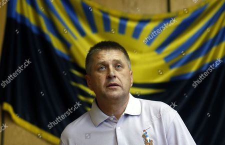 The Self-proclaimed Mayor of Slaviansk Vyacheslav Ponomarev Attends a Press Conference in Slaviansk Ukraine 25 May 2014 Polls Opened in Ukraine on 25 May For a Crucial Presidential Election That is Supposed to Save the Country From All-out Civil War Voting was Expected to Be Extremely Restricted in the Eastern Provinces of Donetsk and Luhansk where Separatists Have Vowed to Do Everything to Prevent It Ukraine Slaviansk