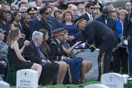 Wife of Deceased Us Army Major General Harold Greene Retired Colonel Susan Myers (front 2r) is Presented the Us National Flag by Us Army Chief of Staff General Ray Odierno (front R) During the Burial Service of General Greene in Section 60 of Arlington National Cemetery in Arlington Virginia Usa 14 August 2014 Greene Became the First Us General Killed in the Wars in Iraq and Afghanistan After Being Slain by a Gunman That Opened Fire at the Marshal Fahim National Defense University 05 August 2014 United States Arlington