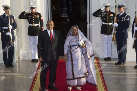 President of Comoros Ikililou Dhoinine (l) and His Spouse Hadidja Abubacarr I'dhoinine (r) Arrive at the North Portico of the White House in Washington Dc Usa 05 August 2014 on the Occasion of the Us Africa Leaders Summit Us President Barack Obama is Hosting About Fifty African Heads of State and Government For a Dinner at the White House United States Washington