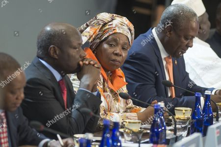 Stock Photo of Africa Union Commission Chairperson Nkosazana Clarice Dlamini Zuma (c) President of Guinea-bissau Jose Maria Vaz (l) and President of Ghana John Dramani Mahama (r) Attend the Session Entitled 'Investing in Africa's Future' at the Us-africa Leaders Summit at the State Department in Washington Dc Usa 06 August 2014 the Us-africa Leaders Summit Brings Almost Fifty African Heads of State and Government to Meet on a Variety of Issues Including Food Security Civil Rights Women's Issues and Economic Development United States Washington