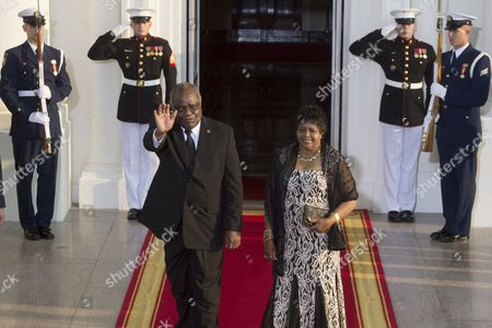 President of Namibia Hifikepunye Pohamba (l) and His Spouse Penehupifo Pohamba (r) Arrive at the North Portico of the White House in Washington Dc Usa 05 August 2014 on the Occasion of the Us Africa Leaders Summit Us President Barack Obama is Hosting About Fifty African Heads of State and Government For a Dinner at the White House United States Washington