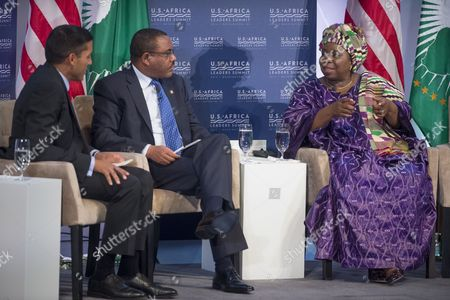 Africa Union Commission Chairperson Nkosazana Clarice Dlamini Zuma (r) Speaks Beside Prime Minister of Ethiopia Hailemariam Desalegn (c) and Usaid Administrator Rajiv Shah (l) During the Forum 'Resilience and Food Security in a Changing Climate' at the Us Africa Leaders Summit in Washington Dc Usa 04 August 2014 the Us Africa Leaders Summit Brings Almost Fifty African Heads of State and Government to Meet on a Variety of Issues Including Food Security Civil Rights Women's Issues and Economic Development United States Washington