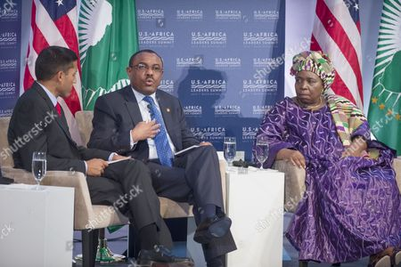 Prime Minister of Ethiopia Hailemariam Desalegn (c) Speaks Beside Africa Union Commission Chairperson Nkosazana Clarice Dlamini Zuma (r) and Usaid Administrator Rajiv Shah (l) During the Forum 'Resilience and Food Security in a Changing Climate' at the Us Africa Leaders Summit in Washington Dc Usa 04 August 2014 the Us Africa Leaders Summit Brings Almost Fifty African Heads of State and Government to Meet on a Variety of Issues Including Food Security Civil Rights Women's Issues and Economic Development United States Washington