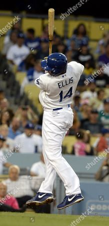Andrew James Ellis of the Los Angeles Dodgers Twists to Avoid an Inside Pitch in the Second Inning Against the Colorado Rockies at Dodger Stadium in Los Angeles California Usa 12 July 2013 United States Los Angeles