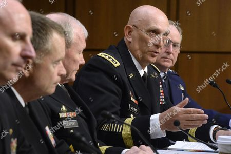 Chief of Staff of the Army General Raymond Odierno (2r) Testifies Beside Other Witnesses at the Senate Armed Services Committee Hearing on Us Defense Department Proposals Relating to Military Compensation on Capitol Hill in Washington Dc Usa 06 May 2014 Also in the Picture (l to R); Chief of Naval Operations Admiral Jonathan Greenert Navy Admiral James Winnefeld Chairman of the Joint Chiefs of Staff General Martin Dempsey and Chief of Staff of the Air Force General Mark Welsh Iii United States Washington