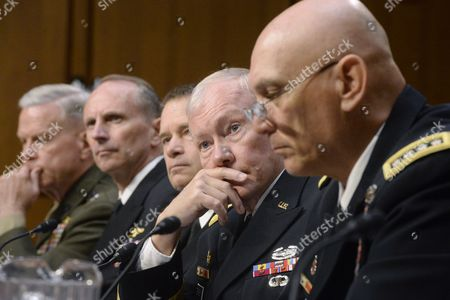Stock Picture of Chairman of the Joint Chiefs of Staff General Martin Dempsey (2r) and Chief of Staff of the Army General Raymond Odierno (r) Join Other Witnesses at the Senate Armed Services Committee Hearing on Us Defense Department Proposals Relating to Military Compensation on Capitol Hill in Washington Dc Usa 06 May 2014 Also in the Picture (l to R); Commandant of the Marine Corps General James Amos Chief of Naval Operations Admiral Jonathan Greenert and Navy Admiral James Winnefeld United States Washington