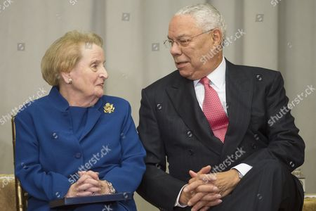 Former Us Secretaries of State Madeleine Albright (l) and Colin Powell (r) Attend the Reception Before the Groundbreaking Ceremony For the Us Diplomacy Center at the State Department in Washington Dc Usa 03 September 2014 Us Secretary of State John Kerry was Joined by Five Former Us Secretaries of State For the Reception and Groundbreaking of the Us Diplomacy Center Which Has the Mission of Demonstrating the Ways That Diplomacy Has Mattered Throughout Us History United States Washington