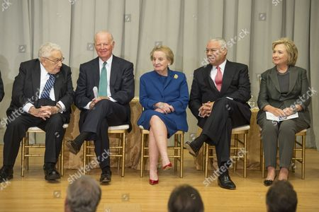 Former Us Secretaries of State (l-r) Henry Kissinger James Baker Madeleine Albright Colin Powell and Hillary Clinton Attend the Reception Before the Groundbreaking Ceremony For the Us Diplomacy Center at the State Department in Washington Dc Usa 03 September 2014 Us Secretary of State John Kerry was Joined by Five Former Us Secretaries of State For the Reception and Groundbreaking of the Us Diplomacy Center Which Has the Mission of Demonstrating the Ways That Diplomacy Has Mattered Throughout Us History United States Washington