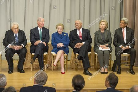 Us Secretary of State John Kerry (r) is Joined by Five Former Us Secretaries of State (l-r) Henry Kissinger James Baker Madeleine Albright Colin Powell and Hillary Clinton at the Reception Before the Groundbreaking Ceremony For the Us Diplomacy Center at the State Department in Washington Dc Usa 03 September 2014 Us Secretary of State John Kerry was Joined by Five Former Us Secretaries of State For the Reception and Groundbreaking of the Us Diplomacy Center Which Has the Mission of Demonstrating the Ways That Diplomacy Has Mattered Throughout Us History United States Washington