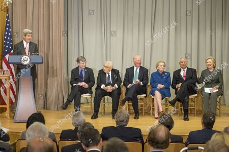 Us Secretary of State John Kerry (l) Delivers Remarks Beside Under Secretary For Management Patrick Kennedy (2-l) and Five Former Us Secretaries of State (l-r) Henry Kissinger James Baker Madeleine Albright Colin Powell and Hillary Clinton at the Reception Before the Groundbreaking Ceremony For the Us Diplomacy Center at the State Department in Washington Dc Usa 03 September 2014 Us Secretary of State John Kerry was Joined by Five Former Us Secretaries of State For the Reception and Groundbreaking of the Us Diplomacy Center Which Has the Mission of Demonstrating the Ways That Diplomacy Has Mattered Throughout Us History United States Washington
