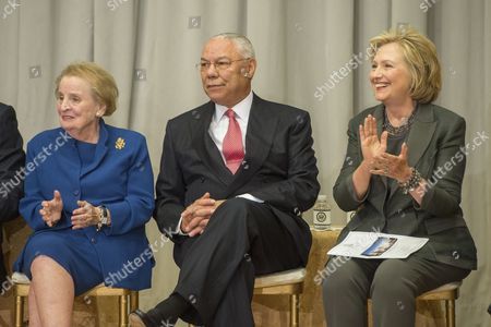 Former Us Secretaries of State Madeleine Albright (l) Colin Powell (c) and Hillary Clinton (r) Attend the Reception Before the Groundbreaking Ceremony For the Us Diplomacy Center at the State Department in Washington Dc Usa 03 September 2014 Us Secretary of State John Kerry was Joined by Five Former Us Secretaries of State For the Reception and Groundbreaking of the Us Diplomacy Center Which Has the Mission of Demonstrating the Ways That Diplomacy Has Mattered Throughout Us History United States Washington