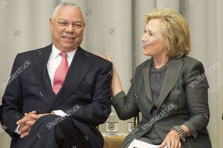 Former Us Secretary of State Hillary Clinton (r) and Former Us Secretary of State Colin Powell (l) Attend the Reception Before the Groundbreaking Ceremony For the Us Diplomacy Center at the State Department in Washington Dc Usa 03 September 2014 Us Secretary of State John Kerry was Joined by Five Former Us Secretaries of State For the Reception and Groundbreaking of the Us Diplomacy Center Which Has the Mission of Demonstrating the Ways That Diplomacy Has Mattered Throughout Us History United States Washington